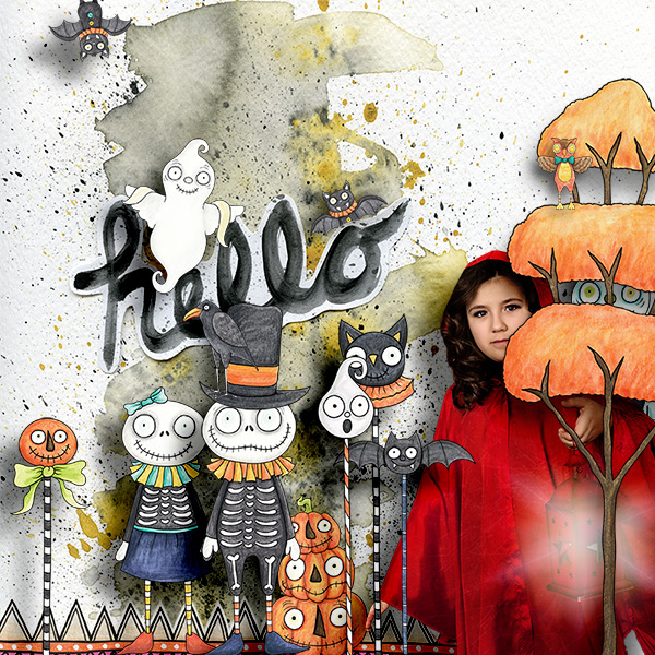 Halloween scrapbooking ideas! Halloween digital scrapbook layout by Kate Hadfield Designs creative team member Iva