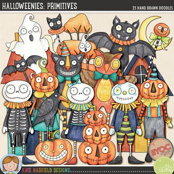 Halloweenies: Primitives by Kate Hadfield