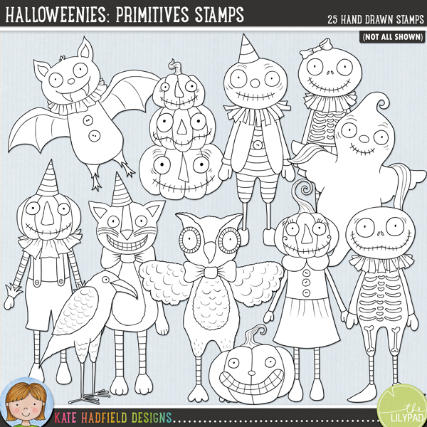 Halloweenies: Primitives Stamps by Kate Hadfield