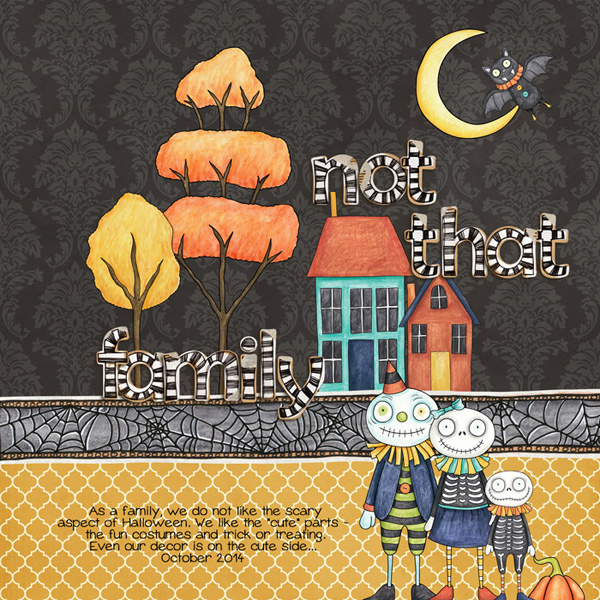 Halloween scrapbooking ideas! Halloween digital scrapbook layout by Kate Hadfield Designs creative team member Rebecca