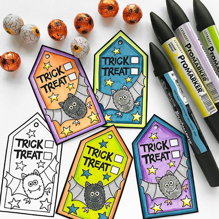 graphic relating to Printable Halloween Gift Tags identified as Printable Halloween address bag toppers reward tags - Kate