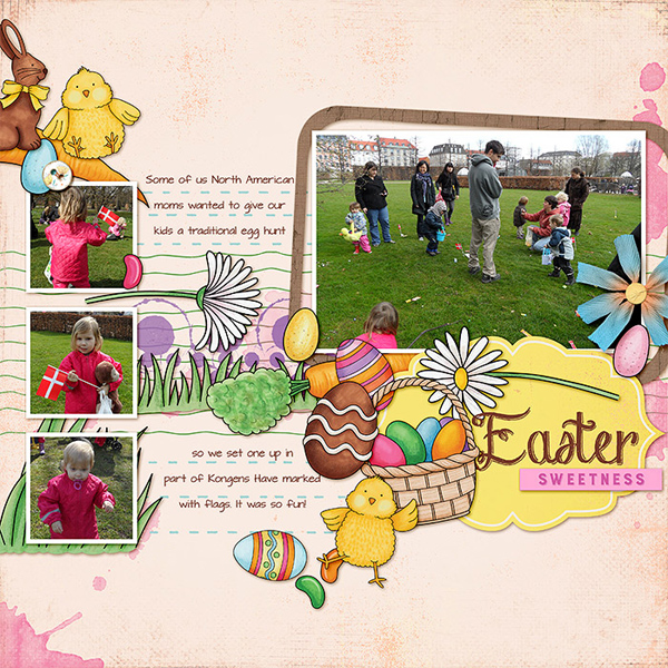 Easter egg hunt scrapbook layout ideas | digital scrapbooking page by Lorry