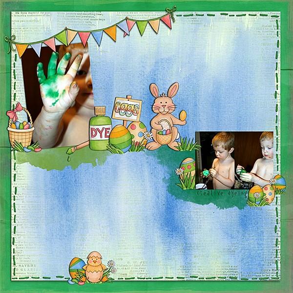 Easter egg craft scrapbook layout | Kate Hadfield Designs creative team | digital scrapbooking page by Keela