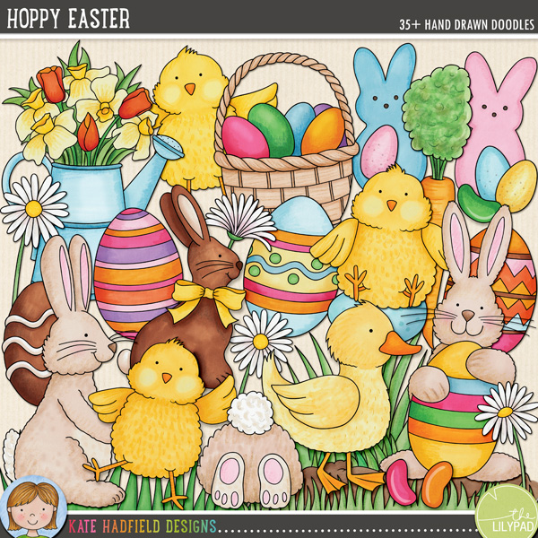 Hoppy Easter digital scrapbooking elements | cute Easter clip art | hand-drawn illustrations for digital scrapbookers, crafters and teachers from Kate Hadfield Designs!