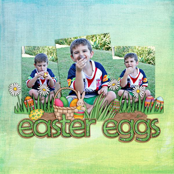 Easter egg hunt scrapbook layout ideas | Easter digital scrapbooking page from Kate Hadfield Designs creative team member Kirstie