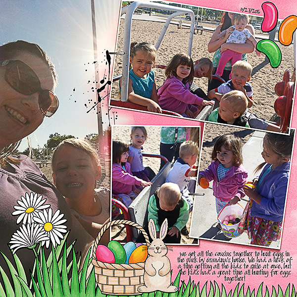 Easter egg hunt scrapbook layout ideas | digital scrapbooking page by Kristina