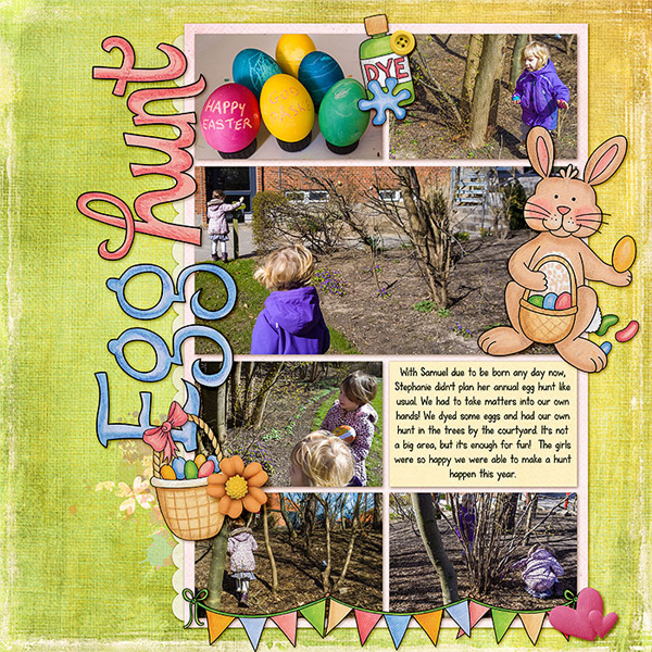 Easter egg hunt scrapbook layout ideas | Easter digital scrapbooking page from Kate Hadfield Designs creative team member Lorry