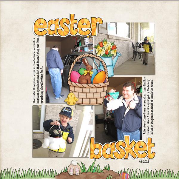 """Easter Basket"" Easter scrapbook layout ideas | digital scrapbooking page by Rebecca"