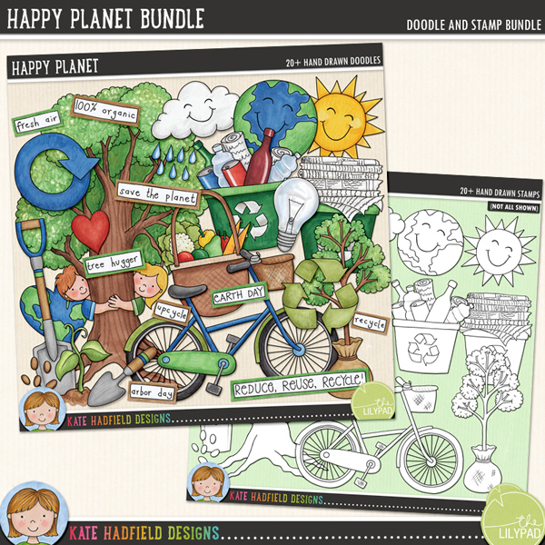 Happy Planet doodle and stamp bundle by Kate Hadfield Designs