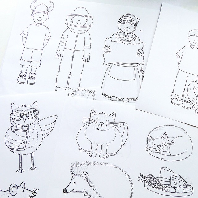 Random selection of drawings on my desk today! Custom Doodlehellip