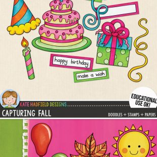 Free digital scrapbooking elements, papers and mini-kits for subscribers | free clip art! Hand-drawn illustrations for digital scrapbooking, crafting and teaching resources from Kate Hadfield Designs!