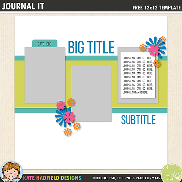 Free journal card digital scrapbook template / scrapbook sketch from Kate Hadfield Designs! Free download contains PSD, Tiff, png and page file formats.