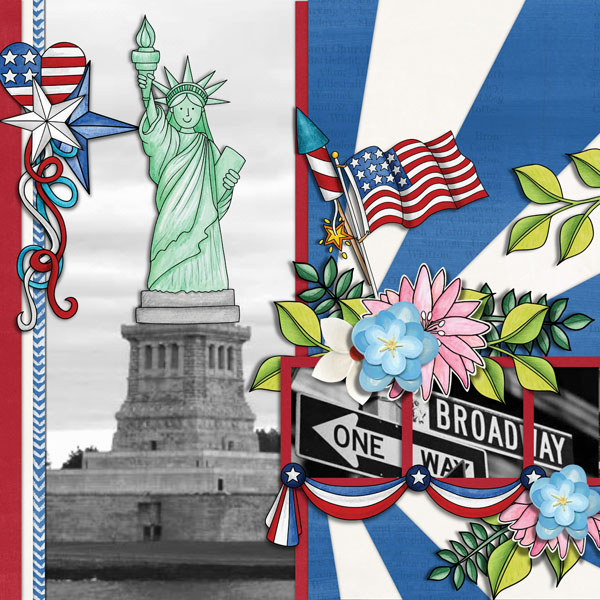 """4th July digital scrapbook page   scrapbook layout ideas   Kate Hadfield Designs Creative Team layout created with """"Star Spangled""""   Layout by Cynthia"""