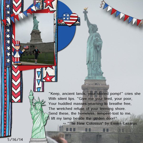 """4th July digital scrapbook page   scrapbook layout ideas   Kate Hadfield Designs Creative Team layout created with """"Star Spangled""""   Layout by Jenni"""