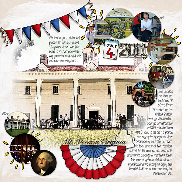 "Digital scrapbook layout created with ""Star Spangled"" from Kate Hadfield Designs! 