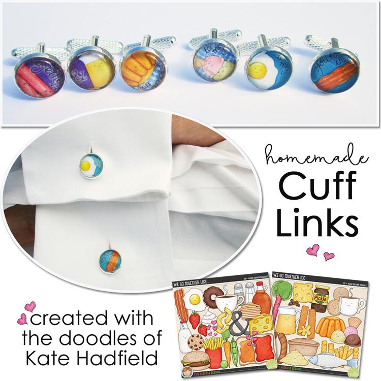 DIY Cufflinks using digi supplies from Kate Hadfield Designs