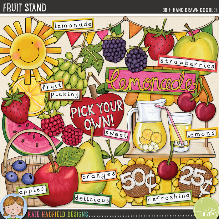 Fruit Stand doodles by Kate Hadfield Designs