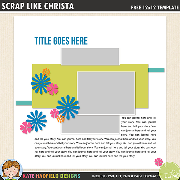 Free digital scrapbook template / scrapbook sketch from Kate Hadfield Designs! Free download contains PSD, Tiff, png and page file formats.