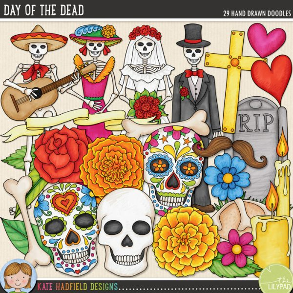 Day of the Dead hand drawn doodles by Kate Hadfield