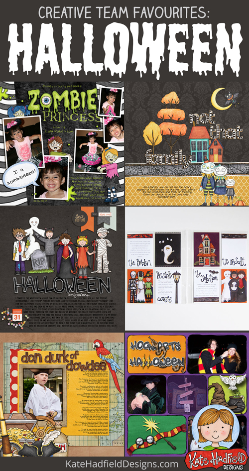 Favourite Halloween scrapbook layout inspiration from the Kate Hadfield Designs creative team!