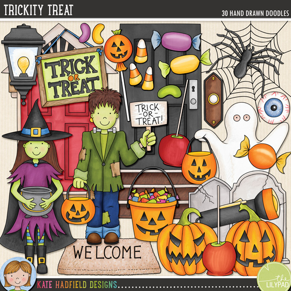 Trickity Treat doodles / clip art by Kate Hadfield Designs