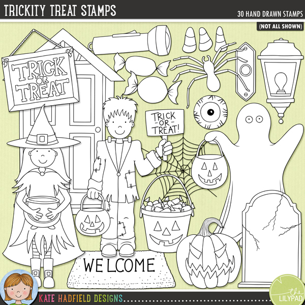 Trickity Treats hand drawn digital stamps by Kate Hadfield Designs