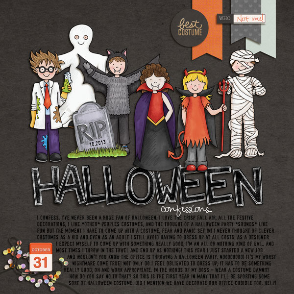 "Kate Hadfield Designs design team ""My favourite Halloween layout"" by Nicole"