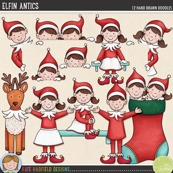 Elfin Antics - cute elf doodles by Kate Hadfield