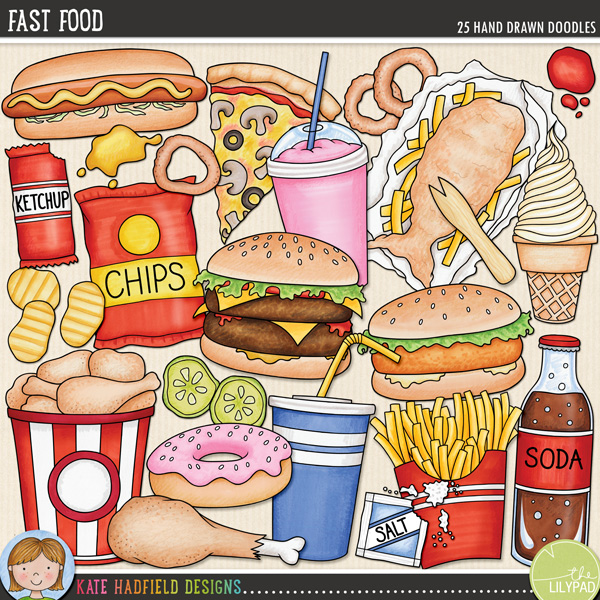 Fast Food doodles by Kate Hadfield Deisgns