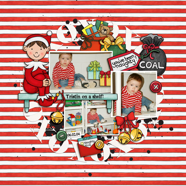 Christmas digital scrapbook page by Kate Hadfield Designs Creative Team member Keela