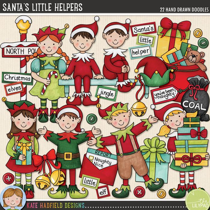 Santa's Little Helpers doodles by Kate Hadfield Designs