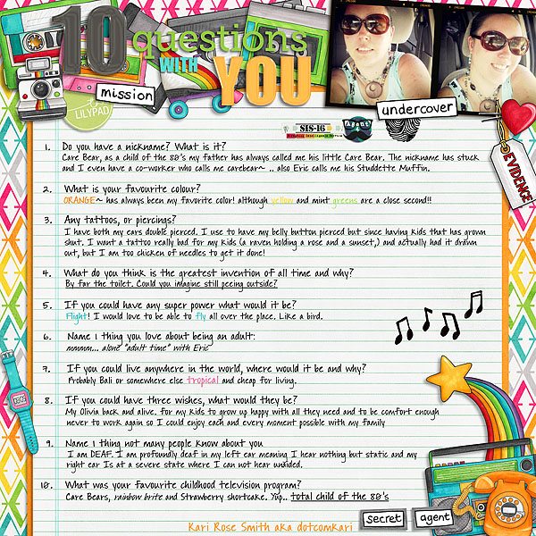 all about me digital scrapbook page