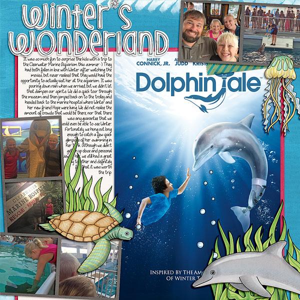 aquarium digital scrapbook page