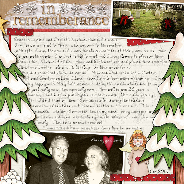 remembrance digital scrapbook page