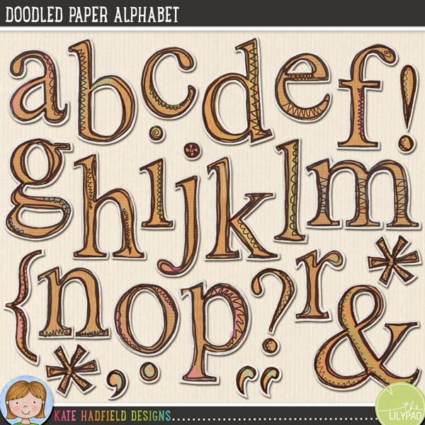Doodled Paper Alpha by Kate Hadfield Designs