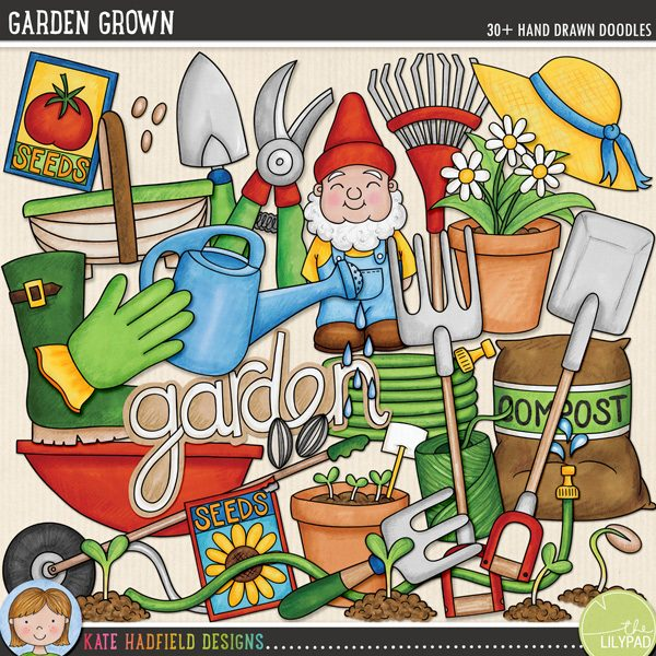 Garden Grown doodles by Kate Hadfield Designs