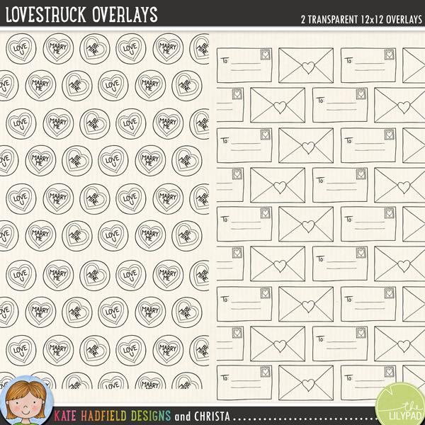 Lovestruck Overlays FREEBIE from Kate Hadfield Designs | 2 12x12 digital scrapbooking overlays!