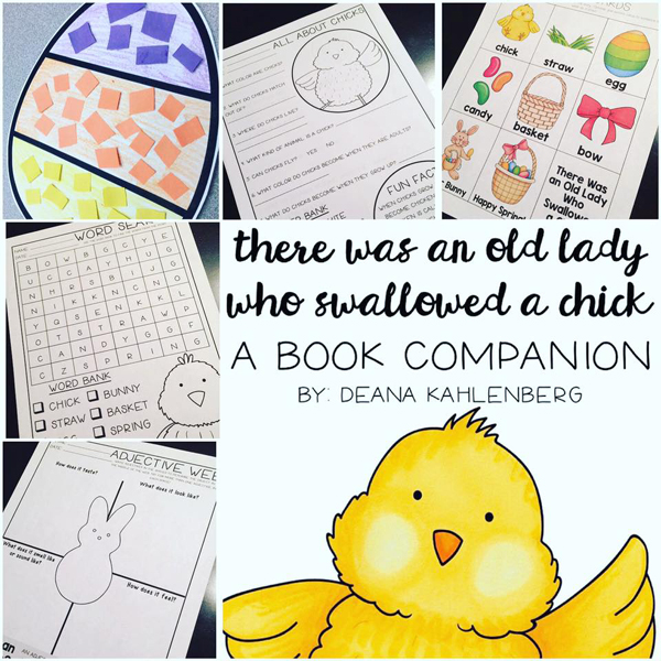 There Was An Old Lady Who Swallowed A Chick book companion activities by Primary Punch   Kate Hadfield Designs