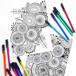 abstract pattern colouring page with marker pens