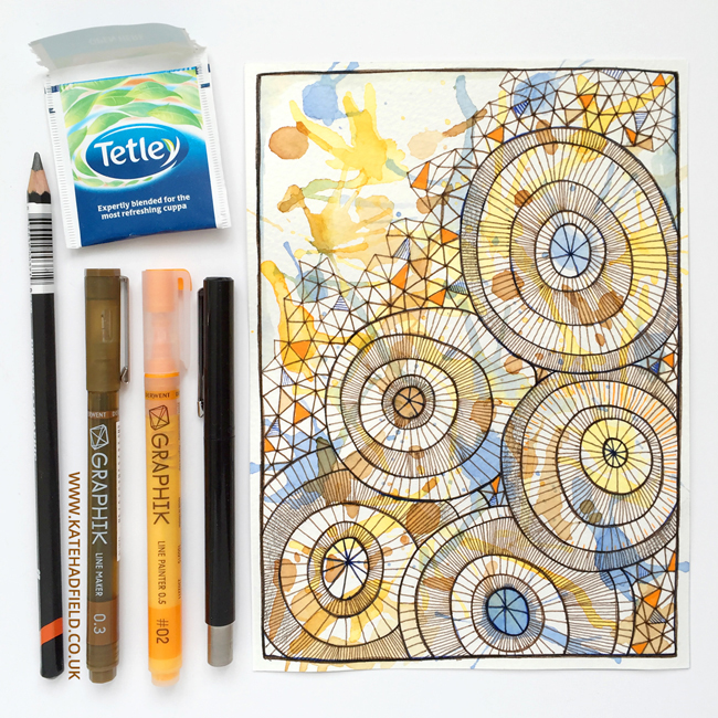 Doodle drawing by Kate Hadfield using the contents of the March 2016 ScrawlrBox   Kate Hadfield Designs