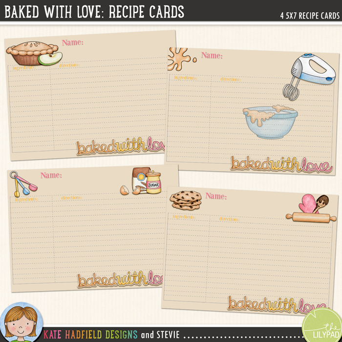 Baked With Love *FREE* recipe cards download from Kate Hadfield Designs