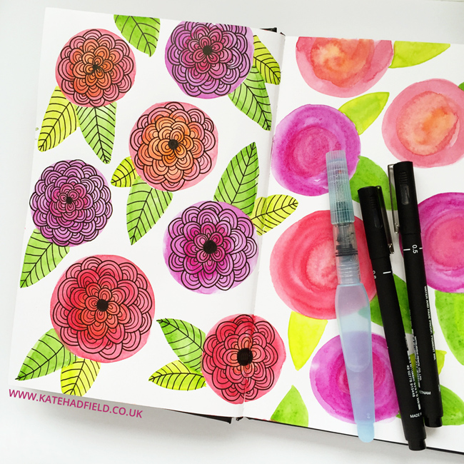 pink and red watercolour floral doodles in sketchbook