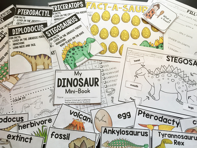 All About Dinosaurs activity pack - Primary Punch - illustrations by Kate Hadfield Designs