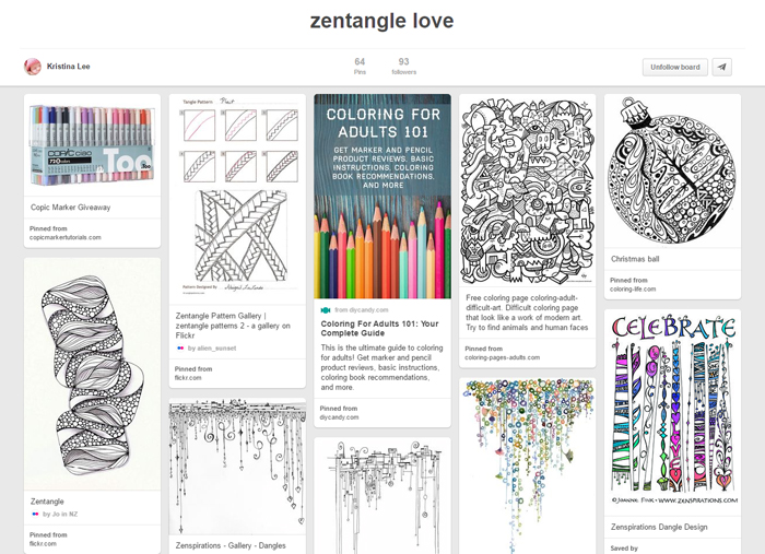 Kristina Lee's Zentangle Pinterest board