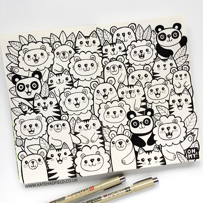 Lions and Tigers and Bears sketchbook drawing - Kate Hadfield Designs