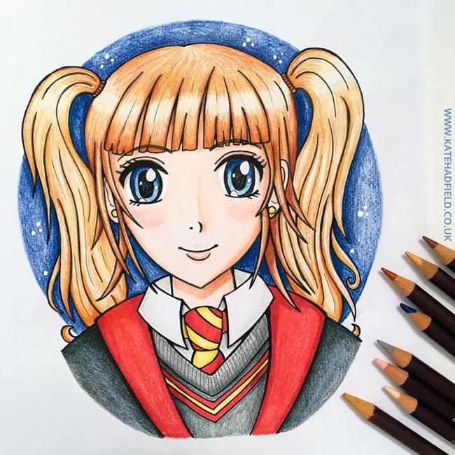 ScrawlrBox April Manga Me challenge coloured - Kate Hadfield Designs
