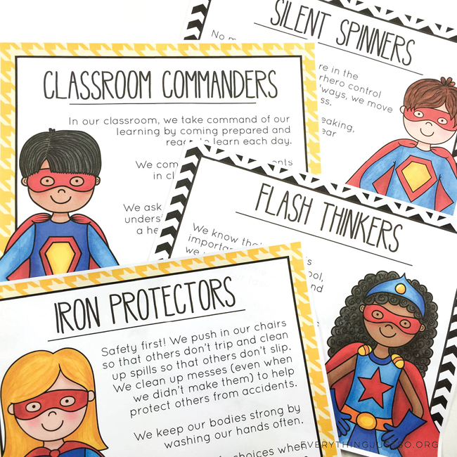 Superhero Character Ed Posters - everythingjustso.org - Set one of two. Help students make super choices in the classroom - illustrations by Kate Hadfield Designs