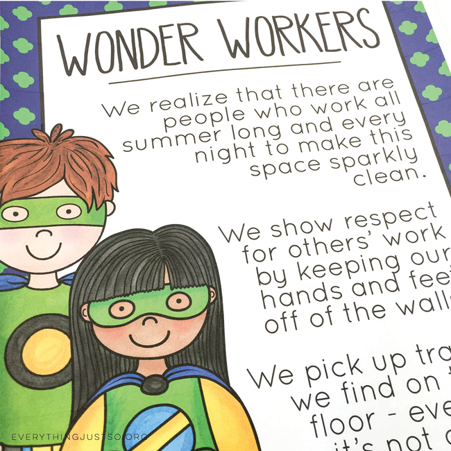 Superhero Character Ed Posters - everythingjustso.org - Set two. Help students make super choices in hallways and bathrooms - illustrations by Kate Hadfield Designs