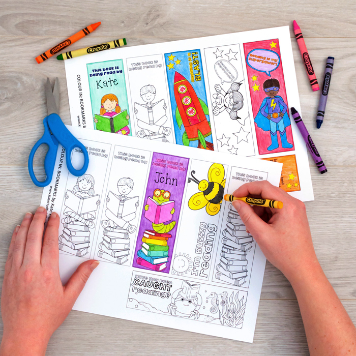 colouring in printed sheets of bookmarks