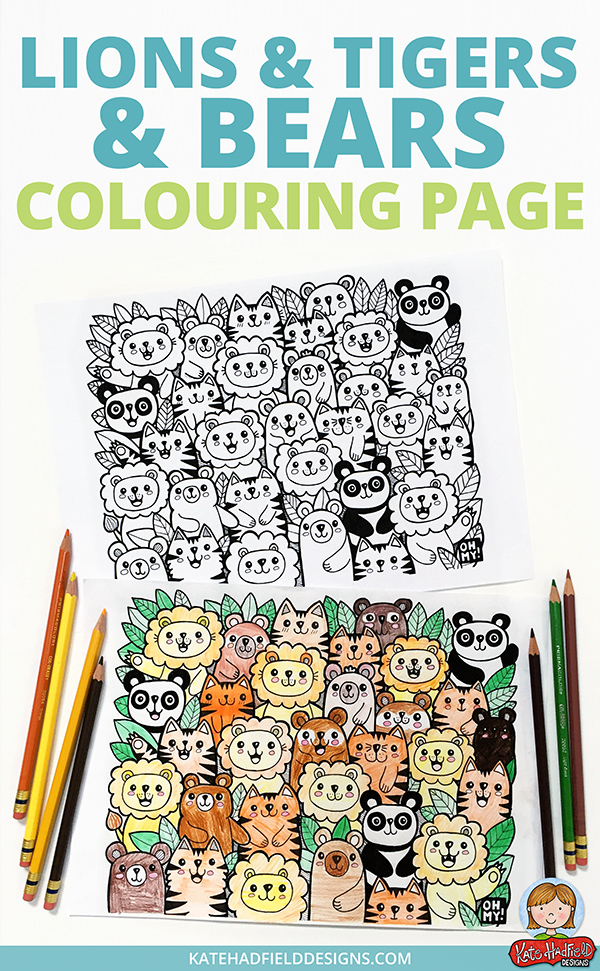 lions and tigers and bears colouring page for kids
